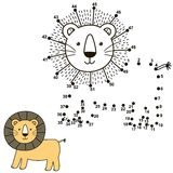 Connect the dots to draw the cute lion and color it. Educational numbers and coloring game for children. Vector illustration vector illustration