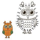 Connect the dots to draw the cute owl and color it. Educational numbers and coloring game for children. Vector illustration Stock Photography