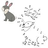 Connect the dots to draw the cute rabbit and color it Stock Photography