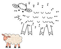Connect the dots to draw the cute sheep. Educational numbers game for children. Vector illustration Stock Images
