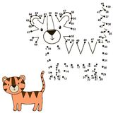 Connect the dots to draw a cute tiger and color it Royalty Free Stock Photo
