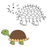 Connect the dots to draw the cute turtle and color it Stock Images