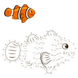 Connect the dots to draw game clown fish vector Stock Photography