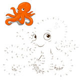 Connect the dots to draw game octopus vector Royalty Free Stock Image