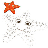 Connect the dots to draw game starfish vector Stock Image