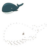 Connect the dots to draw game whale vector Royalty Free Stock Photography