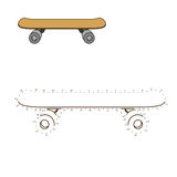 Connect dots to draw skateboard educational game Stock Photography