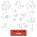 Connect the dots (tropical fruits set), education game Royalty Free Stock Photo