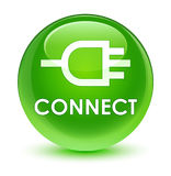 Connect glassy green round button Royalty Free Stock Photo