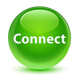 Connect glassy green round button Royalty Free Stock Photos