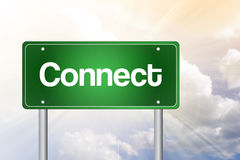 Connect Green Road Sign Stock Photography