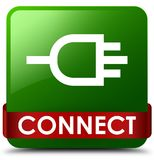 Connect green square button red ribbon in middle. Connect isolated on green square button with red ribbon in middle abstract illustration Royalty Free Stock Photos