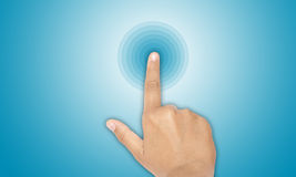Connect. Hand and finger click in button Stock Images