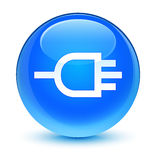 Connect icon glassy cyan blue round button Stock Photography
