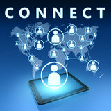 Connect. Illustration with tablet computer on blue background royalty free stock images