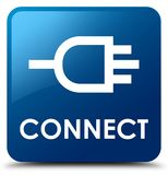 Connect blue square button. Connect isolated on blue square button abstract illustration Royalty Free Stock Images
