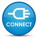 Connect special cyan blue round button. Connect isolated on special cyan blue round button abstract illustration Royalty Free Stock Photos