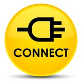 Connect special yellow round button. Connect isolated on special yellow round button abstract illustration Stock Images