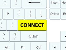Connect yellow keyboard button. Connect isolated on yellow keyboard button abstract illustration Royalty Free Stock Photos