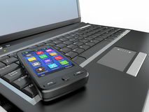 Connect. Laptop and cell phone concept. Stock Image