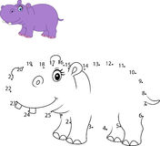 Connect the number to draw the animal educational game for children , Cute hippo Stock Photos