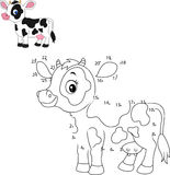 Connect the number to draw the animal educational game for children, Cute little cow Stock Image