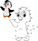 Connect the number to draw the animal educational game for children, Cute little penguin Stock Images