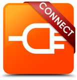 Connect orange square button red ribbon in corner. Connect isolated on orange square button with red ribbon in corner abstract illustration Stock Photo