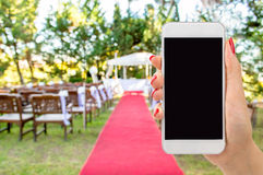 Connect by phone at the wedding Royalty Free Stock Photo