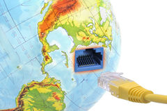 Connect & Planet Earth. Concept of internet using the virtual cable connecting with Planet Earth Royalty Free Stock Image