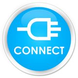 Connect premium cyan blue round button. Connect isolated on premium cyan blue round button abstract illustration Royalty Free Stock Images