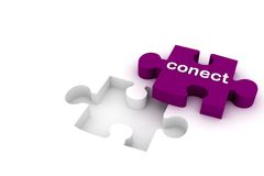 Connect puzzle. 3d multi use connect puzzle in white background Royalty Free Stock Photos