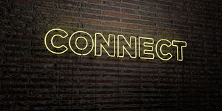 CONNECT -Realistic Neon Sign on Brick Wall background - 3D rendered royalty free stock image Stock Photography