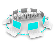 Connect - Ring of White Computers. Many white laptop computers in a circle around the word Connect royalty free illustration