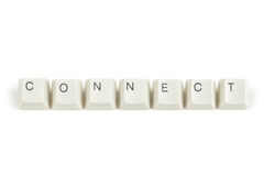 Connect from scattered keyboard keys on white Royalty Free Stock Photo