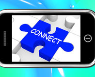 Connect On Smartphone Showing Connected People Stock Image