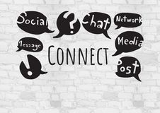 Connect text with social media drawings graphics Stock Photography