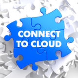 Connect to Cloud on Blue Puzzle. Royalty Free Stock Photo