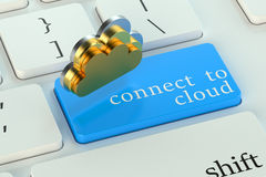 Connect to cloud on  keyboard button Stock Image