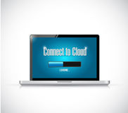 Connect to cloud laptop. illustration design Stock Photography