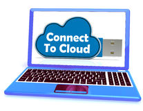 Connect To Cloud Memory Means Online File Storage. Connect To Cloud Memory Meaning Online File Storage Stock Photography