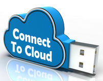 Connect To Cloud Pen drive Means Connection Stock Images