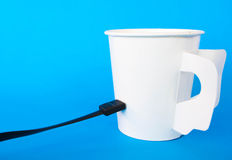 Connect to coffee cup Royalty Free Stock Photo