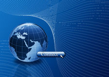 Connect to the world, internet concept. World with connect button and mouse pointer Stock Photo