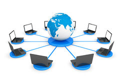 Connect To The World Wide Web Concept. Laptop computers with Ear Stock Image