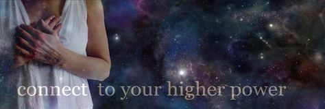 Connect to your higher power. Semi transparent female torso holding hands over heart against a dark night sky background with the words CONNECT TO YOUR HIGHER stock images