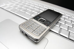 Connect of two mobile devices. Royalty Free Stock Photography