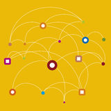 Connect (vector). Connect the dots illustration (vector) multicolored Royalty Free Stock Photo