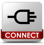Connect white square button red ribbon in middle. Connect isolated on white square button with red ribbon in middle abstract illustration Stock Photos