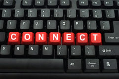 Connect word on black keyboard Royalty Free Stock Photo